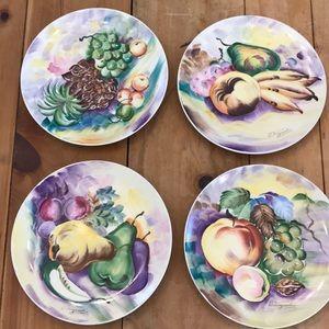 4 J. Nagasaki Vintage Hand Painted Fruit Plates